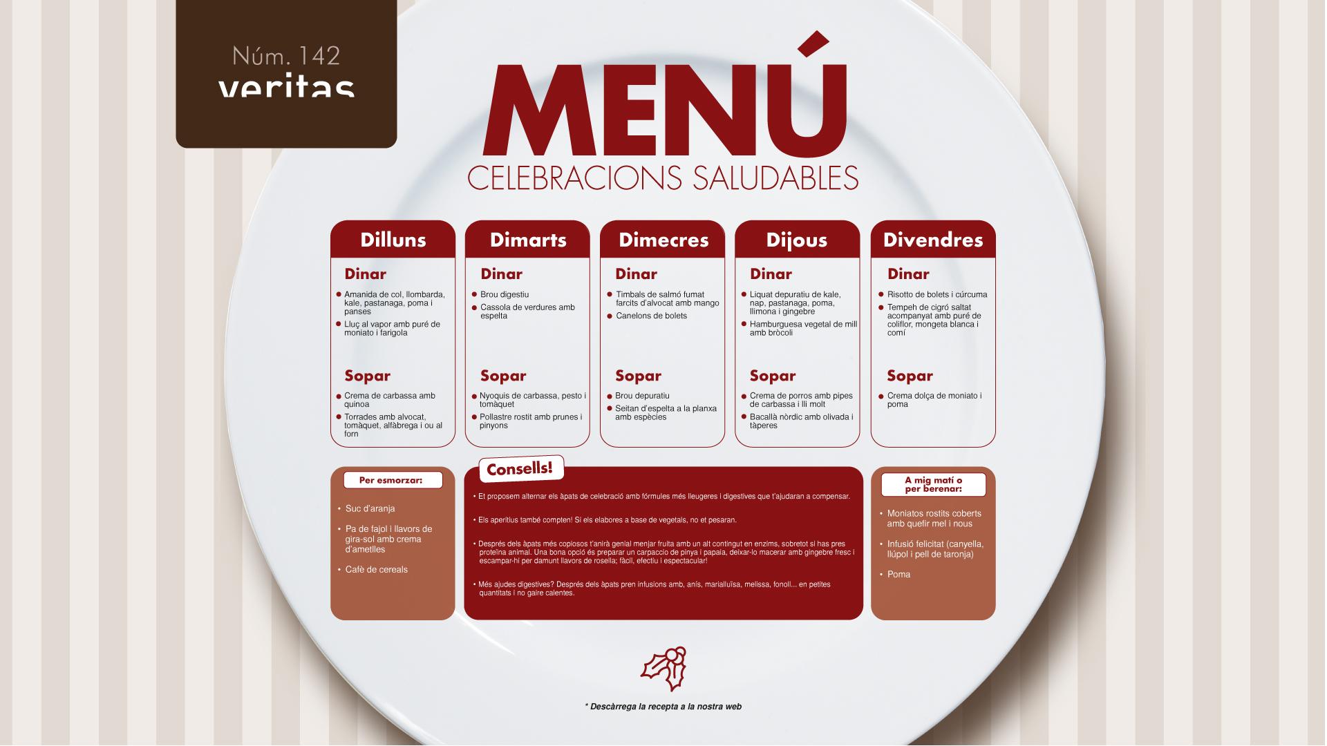 Celebracions saludables - Menú - Veritas