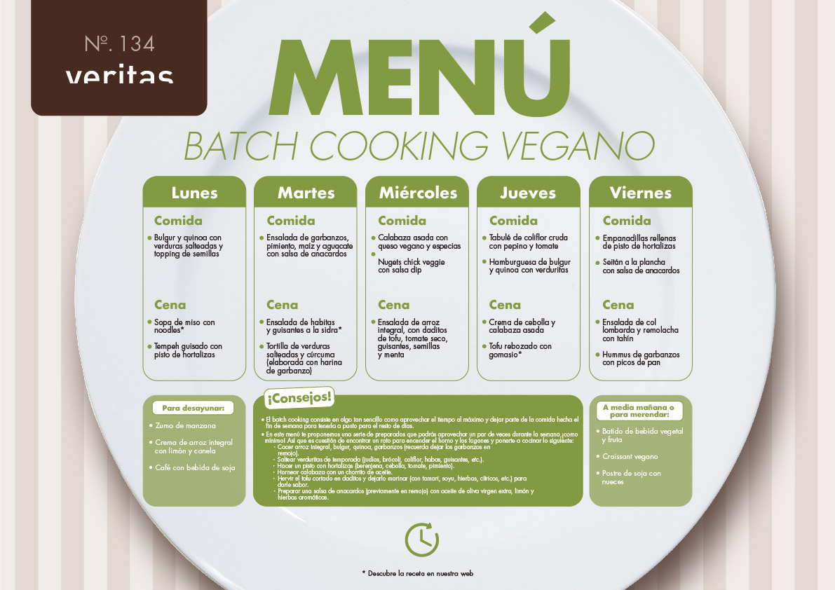 Batch cooking vegano - Menús - Veritas