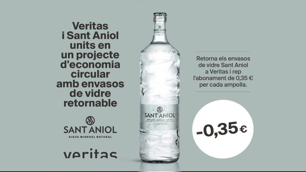 Veritas i Sant Aniol units en un projecte d'economia circular amb envasos de cristal retornable - Veritas
