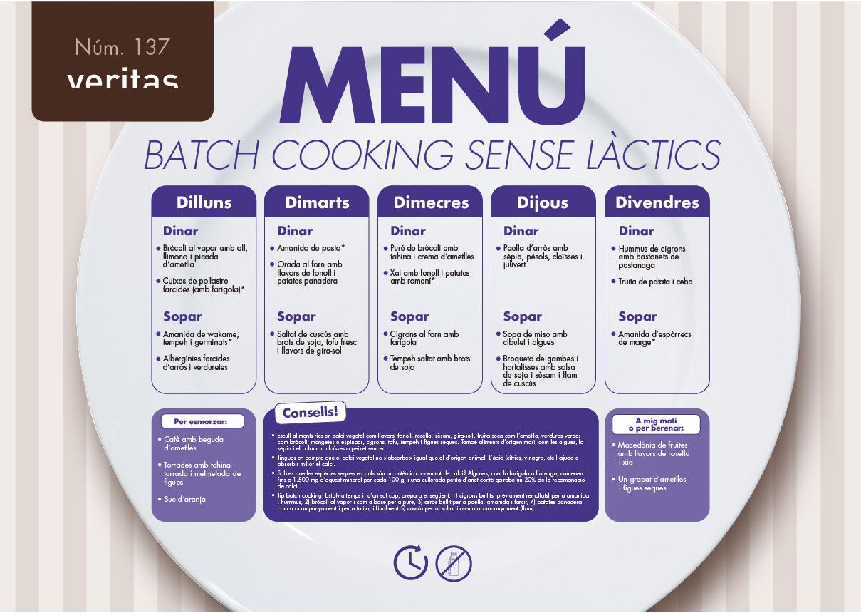 Batch cooking sense làctis - Menús - Veritas
