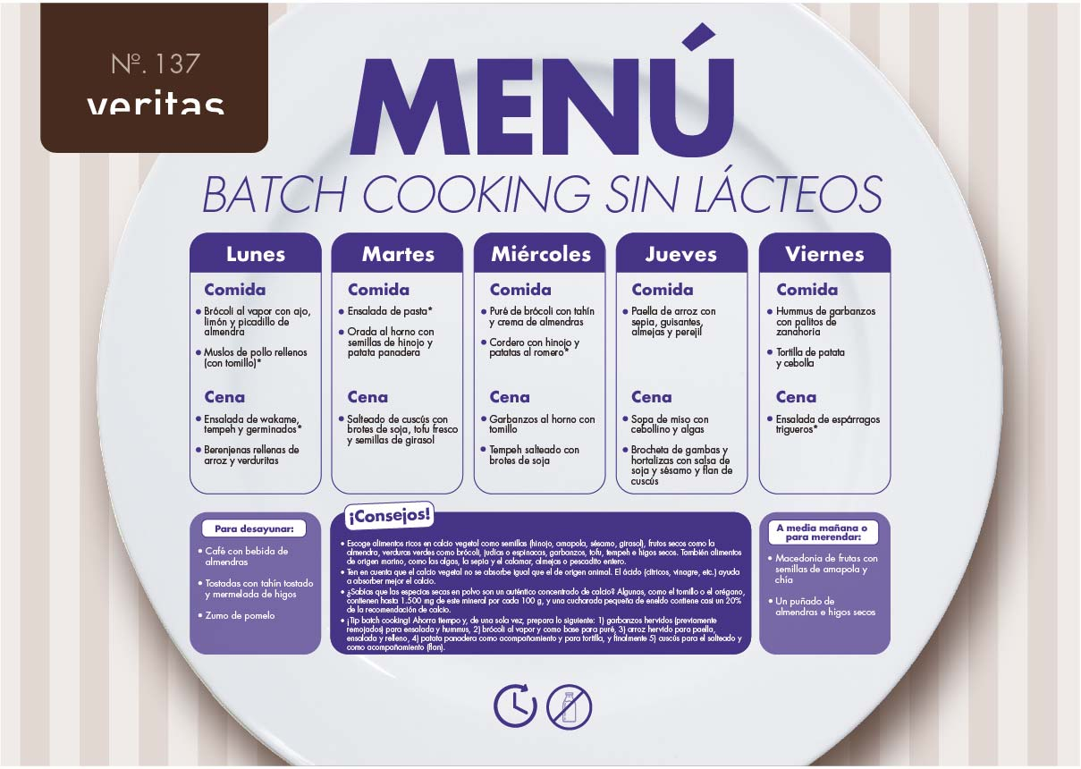 Batch cooking sin lácteos - Menús - Veritas