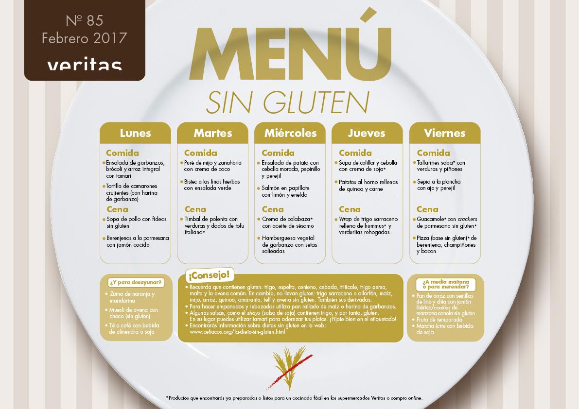 Ejemplo menu dieta sin gluten