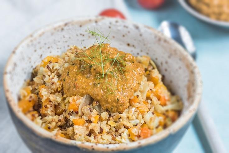 Mix de bulgur y legumbres con pesto rojo - Veritas