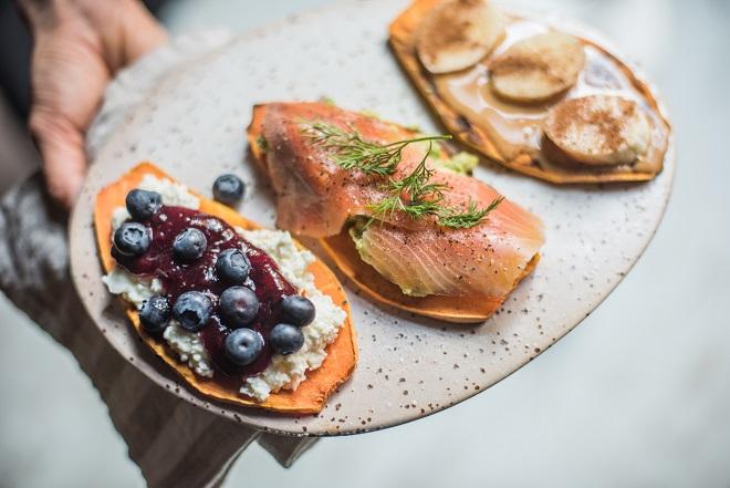 Torrades de moniato amb toppings - Receptes - Veritas
